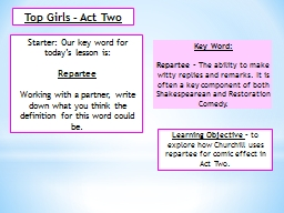 Top Girls – Act Two Starter: Our key word for today's lesson is: