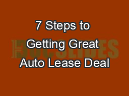 7 Steps to Getting Great Auto Lease Deal