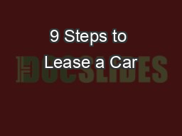9 Steps to Lease a Car