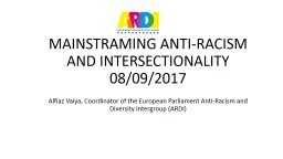 MAINSTRAMING ANTI-RACISM AND INTERSECTIONALITY