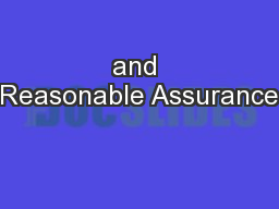 and Reasonable Assurance PowerPoint PPT Presentation