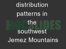 Tree distribution patterns in the southwest Jemez Mountains