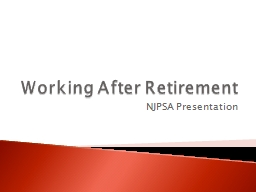 Working After Retirement PowerPoint PPT Presentation