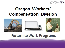 Oregon Workers' Compensation Division PowerPoint PPT Presentation