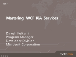 Mastering WCF RIA Services PowerPoint PPT Presentation