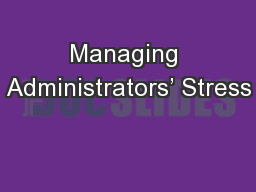 Managing Administrators' Stress