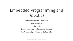Embedded Programming and Robotics PowerPoint PPT Presentation