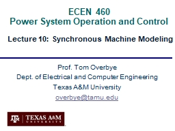 ECEN 460  Power System Operation and Control