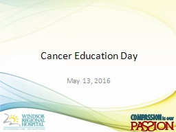 Cancer Education Day May 13, 2016