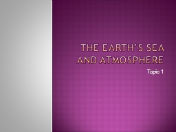 The Earth's sea and atmosphere