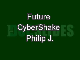 Future CyberShake Philip J.
