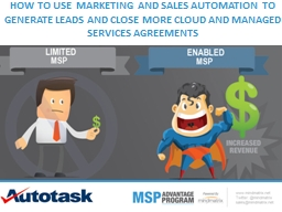 HOW TO USE �MARKETING �AND SALES�AUTOMATION��TO GENERATE LEADS AND CLOSE MORE CLOUD AND MANAGE