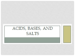 Acids, Bases, and Salts Acids