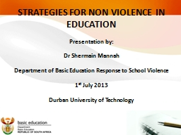 STRATEGIES FOR NON VIOLENCE IN EDUCATION PowerPoint PPT Presentation