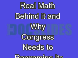 90/10:  The Real Math Behind it and Why Congress Needs to Reexamine Its