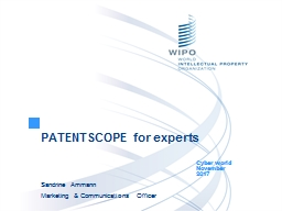 PATENTSCOPE for experts Cyber world