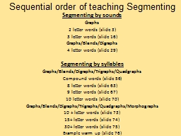 Sequential order of teaching Segmenting