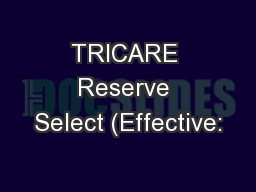 TRICARE Reserve Select (Effective: