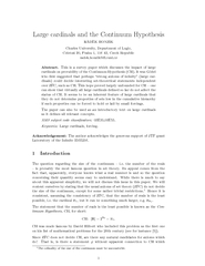 Large cardinals and the Continuum Hypothesis RADEK HON