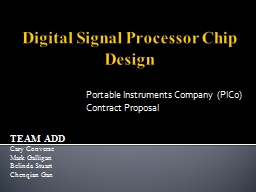 Digital Signal Processor Chip Design