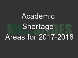 Academic Shortage Areas for 2017-2018
