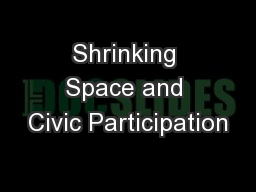 Shrinking Space and Civic Participation