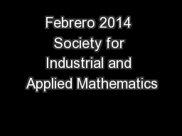 Febrero 2014 Society for Industrial and Applied Mathematics