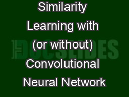 Similarity Learning with (or without) Convolutional Neural Network