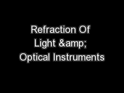Refraction Of Light & Optical Instruments