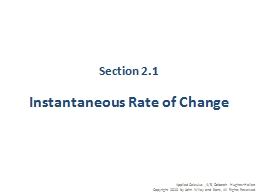 Section 2.1 Instantaneous Rate of Change