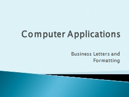 Computer Applications Business Letters and