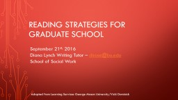 Reading Strategies for Graduate School