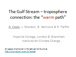 """The Gulf Stream – troposphere connection: the """" PowerPoint PPT Presentation"""