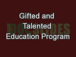 Gifted and Talented Education Program