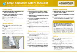 HGDWHDFKVWHS    Safety on steps and stairs Tips on reducing injuries on steps and stairs through design building and maintenance                                       SNZ HB   Safety in