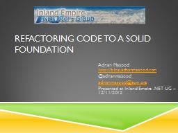 Refactoring Code to a SOLID Foundation