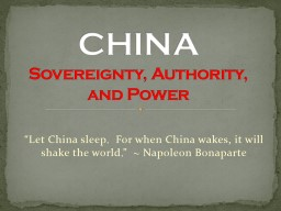 CHINA   Sovereignty, Authority, and Power
