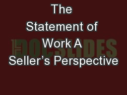 The Statement of Work A Seller's Perspective
