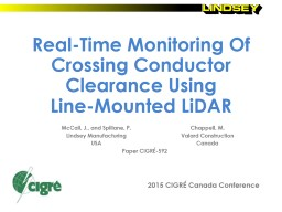 Determining Crossing Conductor Clearance Using Line-Mounted LiDAR