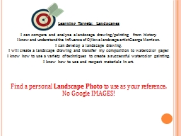 Learning Targets: Landscapes