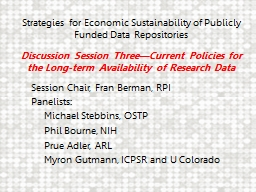 Strategies for Economic Sustainability of Publicly Funded Data Repositories