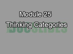 Module 25 Thinking Categories