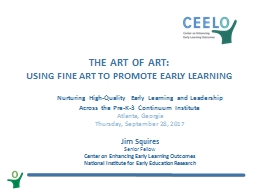 The Art of Art: Using Fine Art to promote early learning