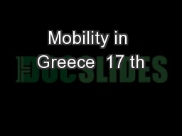 Mobility in Greece  17 th