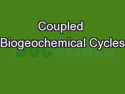 Coupled Biogeochemical Cycles
