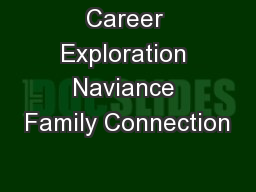 Career Exploration Naviance Family Connection