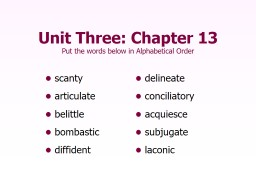 Unit Three: Chapter 13 Put the words below in Alphabetical Order PowerPoint PPT Presentation