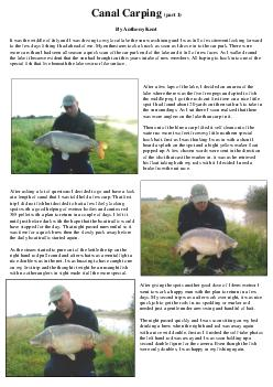 Canal Carping part  By Anthony Kent It was the middle