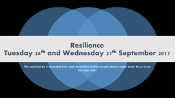 Resilience Tuesday 26 th