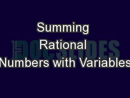 Summing Rational Numbers with Variables